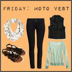 Get the bad girl look by pairing your black jeans with a moto vest!