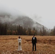 wedding photograph in the midst of the fog.
