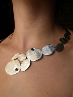 Necklace | Adeline Beaujoin. Sterling silver with ebony wood