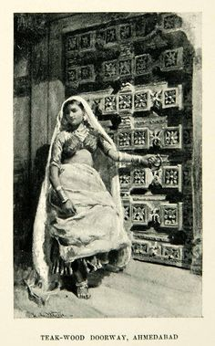 1896 Print Teak Wood Doorway Ahmedabad India Woman Dress Edwin Lord Weeks XGAF9