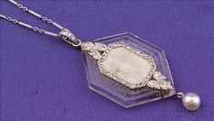 Art Deco Platinum, Carved Rock Crystal and Diamond Pendant/Necklace,