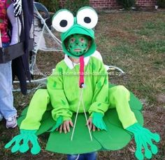 """Homemade Frog on a Lilly Pad Costume: My son loves frogs. This year he wanted to be a """"Cool"""" frog. So I started working on his costume. First I made the Lilly pad from a piece of cardboard"""