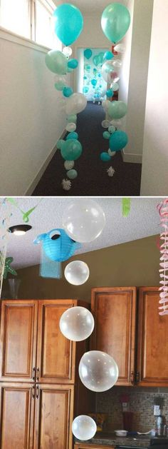 """Sometimes, kid's room decor needs to change according to the season, such as when it is getting into summer, the """"under the sea"""" theme would be perfect for your home. Either your kid loves sea creatures or be a mermaid fan, there is an under-the-sea decor Under The Sea Theme, Under The Sea Party, Turtle Birthday, Turtle Party, Under The Sea Decorations, Birthday Party Decorations Diy, Birthday Ideas, Halloween Birthday, Birthday Parties"""