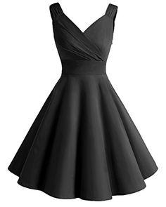 Bridesmay Robe courte vintage rétro Audrey Hepburn années 50 Rockabilly Black L