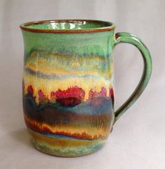 Linda Embrey Neubauer.  Glazes used from top to bottom - Textured Turquoise, Oatmeal, Chun Plum, Vert Lustre, Albany Slip Brown, and Iron Lustre,