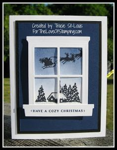 "Check out some of the new product coming in the 2015 Stampin' Up! One of my favorites is the new ""Heart & Home"" window frame & sill. I also used a new stamp set called ""Cozy Christmas Homemade Christmas Cards, Stampin Up Christmas, Christmas Cards To Make, Noel Christmas, Xmas Cards, Homemade Cards, Holiday Cards, Primitive Christmas, Country Christmas"