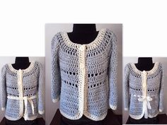 (4) Name: 'Crocheting : 784 Gatsby Sweater-Adult Cardigan Croche