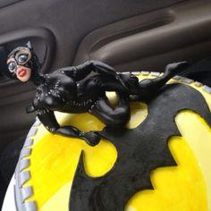batman and catwan cake fondant art