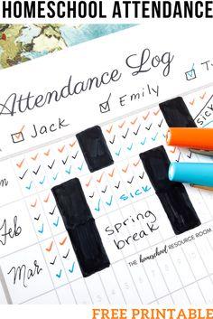 Homeschool Attendance Record Free Printable Attendance Log