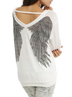Angel Wing Sweater Top from Hot Topic. Saved to 👗Clothes👗. Shop more products from Hot Topic on Wanelo. White Knit Sweater, White Sweaters, Sweater Shirt, Knit Shirt, White Shirts, Hot Topic Sweaters, Hot Topic Shirts, Hot Topic Clothes, Hot Topic Dresses