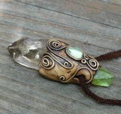 FREE SHIPPING Peridot Pendant Quartz Aegerine Point Necklace Healing Gemstone Jewellery Hippie Gypsy Tribal Quartz Point