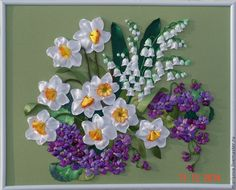 """Картина лентами """"Приглашение в весну"""" - картина весны,фиалки,ландыши нарциссы"""