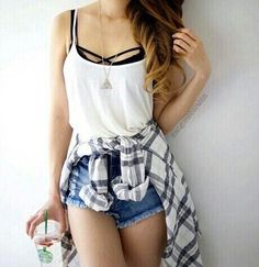 Highwaisted shorts. Flannel. Brandy Melville crossed bralette