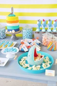 Dessert table at a Jawesome shark themed birthday party by Kara Allen Birthday Party Images, Boy Birthday Parties, Girl Birthday, Birthday Ideas, Shark Party Decorations, Cupcakes, Shark Week, Party Ideas, Week 5