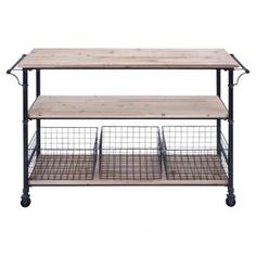 """Castered metal serving cart with 3 wood shelves and 3 wire baskets.   Product: Serving cartConstruction Material: Wood and metalColor: Natural and blackFeatures:  Includes three metal basketsHigh-quality casters for free movement Dimensions: 32"""" H x 48"""" W x 17"""" D"""