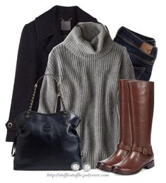 """""""Gray & Navy"""" by steffiestaffie ❤ liked on Polyvore featuring American Eagle Outfitters, Clarks, Tory Burch and David Yurman"""