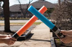 Pool Noodle Lightsaber DIY Craft | Choose your side and battle your friends with this super easy-to-make Star Wars craft