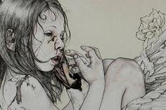 Kikyz 1313 – view more (somber) images @ http://www.juxtapoz.com/Illustration/kikyz-1313 – #illustrations #fallenangel #kikyz1313