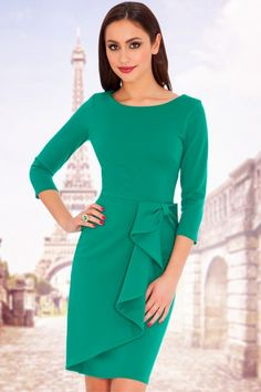 Vicky Waterfall Midi Dress in Emerald Green Midi Dress With Sleeves, Dress With Bow, The Dress, Peplum Dress, Bodycon Dress, Scuba Dress, Dress Outfits, Casual Dresses, Short Dresses