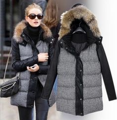 womens down coat fur collar Parka winter Jacket Thick coat hooded -XL