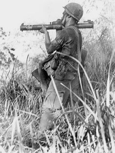 American soldier with a M72 rocket launcher