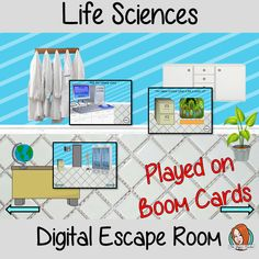 Life Sciences Escape Room Children can practice and learn about life science with this fun digital escape room. Children will need to explore the room answer questions and collect information to solve the puzzles and eventually escape the mad scientist's lab. No printing required This game uses Boom Cards and you will need a Boom card account to play it which is free Middle School Science, Elementary Science, Primary School, Elementary Schools, Science Lesson Plans, Science Lessons, Life Science, Science Games, Teaching Science