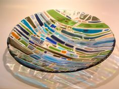 Fused glass plate. Love the transparent glass as the background...
