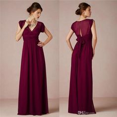 Cheap A-Line ,Burgundy Chiffon ,2017 Bridesmaid Dresses With V Neck ,Short Sleeve, Bow Sash ,Floor-Length ,Prom Dresses, Evening Gowns