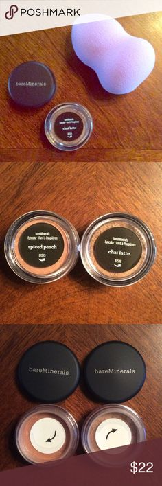 BareMinerals lot of 2 Eyeshadow & Beauty Puff 2 BareMinerals Eyeshadow pots Spiced Peach  & Chai Latte + Beauty Puff  All NEW! bareMinerals Makeup Eyeshadow
