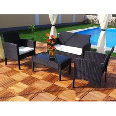 Rattan Lounge Set in Choice of Colour from With Free Delivery Outdoor Chairs, Outdoor Furniture Sets, Outdoor Decor, Lounge, Sofa, Free Delivery, Teak, Design, Home Decor