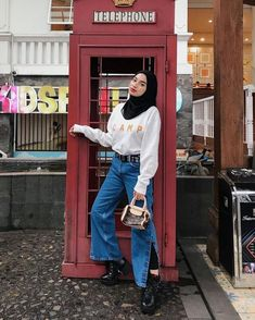 Modest Fashion Hijab, Street Hijab Fashion, Casual Hijab Outfit, Ootd Hijab, Girl Hijab, Edgy Outfits, Muslim Fashion, Ootd Fashion, Korean Fashion