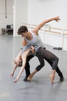 Charlotte Ranson and Germain Louvet in rehearsal for Yvon Demol's Merrymaking  ph. Christian Leibe