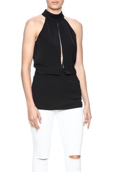 Structured halter tank with mesh under detail. Zipper closure.    Mesh Halter Tank by luxxel. Clothing - Tops - Sleeveless Manhattan, New York City Naples, Florida