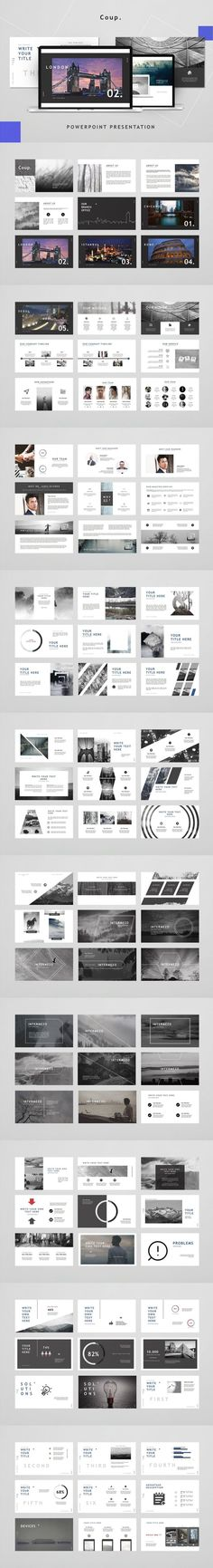 Coup - Powerpoint Template #timeline #multipurpose #simple #PresentationTemplates #planning #image #fashion #biz #corporate #PresentationTemplate #summer #marketing #BestPowerpointTemplates #businesspowerpoint #pptx #PresentationTemplate #company #ecommerce #deck Corporate Presentation, Powerpoint Presentation Templates, Presentation Design, Branding Template, Microsoft Powerpoint, All Icon, Clean Design, Typography, Layout