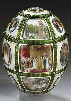The Fifteenth Anniversary Egg, gold, platinum, diamonds, ivory, rock crystal, 1911. Presented by Nicholas II to Tsarina Alexandra Fyodorovna. Svyaz' Vremyon Fund - Viktor Vekselberg Collection - Moscow