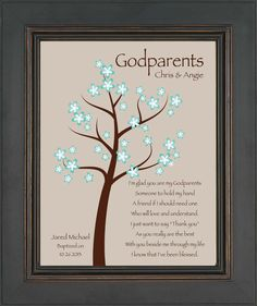 Godparents gift - Personalized gift for Godmother and Godfather- Gift from Godchild - Other colors available