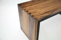 Black walnut and metal side table, handmade with full wood joinery, designed for positioning options. Metal Side Table, Solid Wood Table, Wood Tables, Solid Oak Furniture, Wood Joinery, Design, Handmade, Home Decor, Black