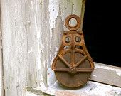 Antique cast iron industrial/farm pulley