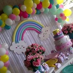 "dbakers SWEET STUDIO on Instagram: ""Tru and the rainbow ki 1st Birthday Party For Girls, Unicorn Themed Birthday, Girl Birthday Themes, Rainbow Birthday Party, Unicorn Party, Baby Birthday, Birthday Ideas, Rainbow Party Decorations, Birthday Party Decorations"