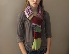 Patchwork Scarf - Upcycled and Eco Friendly. $26.00, via Etsy.