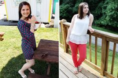 Caitlin wearing our polka dot dress and bright colored denim #summer #style