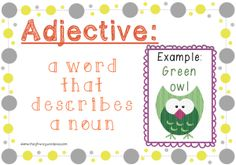 Free posters to teach parts of speech: adjective, nouns, and verbs