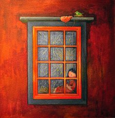 Windows and doors . The window - looked and forgotten . Taipei, Illustration Girl, Watercolor Illustration, Different Kinds Of Art, Cute Images, Art Pictures, Cute Art, Illustrations Posters, Les Oeuvres