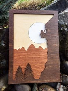Mountain Climber Laser Cut Shadow Box Wood Scene / Inlaid / Outdoors / Moon / Handcrafted / Mountains and Trees / Nature / Rock Climber - Cutting Edge Wood Creations - 3d Laser, Laser Cut Wood, Laser Cutting, Wooden Art, Wood Wall Art, Shadow Box, Easy Woodworking Ideas, Woodworking Wood, Gravure Laser