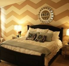 chevron wall--wil have this in my bedroom when i have my own house Dream Bedroom, Home Bedroom, Bedroom Wall, Master Bedroom, Bedroom Decor, Bed Room, Bedroom Ideas, Pretty Bedroom, Design Bedroom