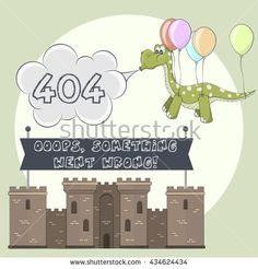 Error page 404 for web. Cartoon castle and dragon