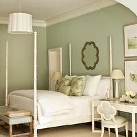 Phoebe Howard - bedrooms - sage green bedrooms, sage green bedroom paint color, sage green paint, scalloped mirrors, scalloped bedroom mirro...