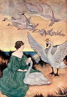 'The Wild Swans' an illustration from 'Hans Andersen Fairy Tales' – Illustrated by Milo Winter http://www.amazon.com/gp/product/1445508672/ref=as_li_tl?ie=UTF8&camp=1789&creative=9325&creativeASIN=1445508672&linkCode=as2&tag=reaboo09-20&linkId=UC6UO7ESJVQMDEIZ