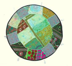 Indian Blue Green Earthtone Patchwork Handmade Oversized Round Floor Custion Boho Traditional Art by PrintBlockStamps on Etsy
