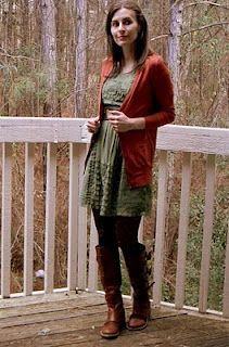 Laced with Grace Dress paired with rust-colored cardigan and boots